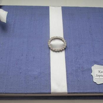 Wedding Guest Book/Photo Guestbook/Wedding Album w/Rhinestone Brooch (Custom Colors Available)